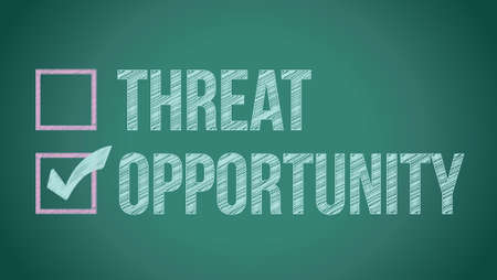 threat: opportunity vs threat illustration design on a blackboard