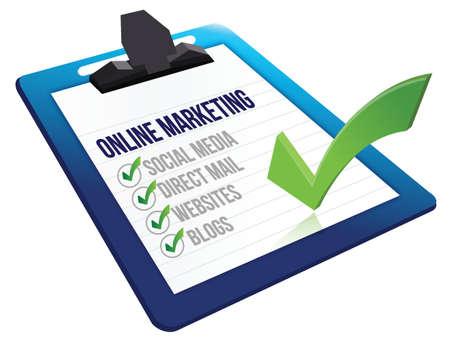 clipboard Online marketing tools illustration design over a white background Illustration