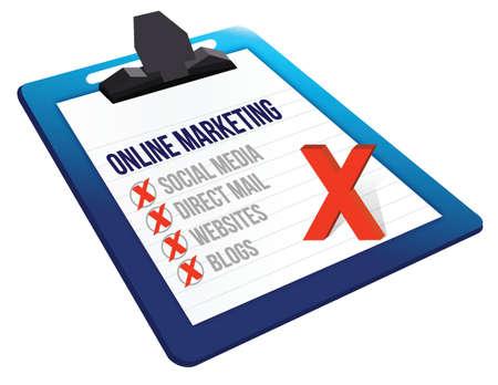 teleseminar: Appunti di marketing online strumenti di design illustrazione su uno sfondo bianco