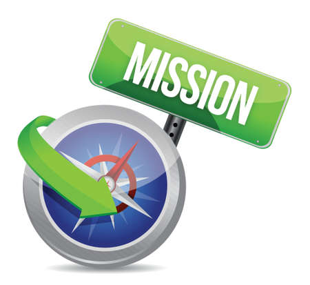 vision mission: Mission on a compass illustration design over white Illustration