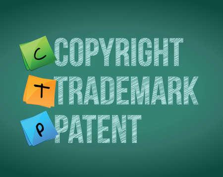 patente: derechos de autor, marcas comerciales y patentes de dise�o ilustraci�n m�s de blanco Vectores