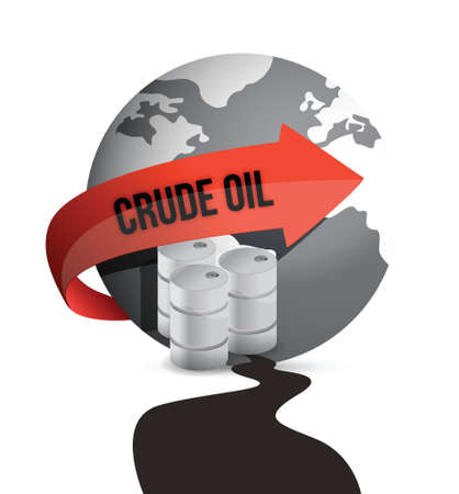 oil spill: Oil drum, barrel and Earth globe in an oil spill puddle illustration