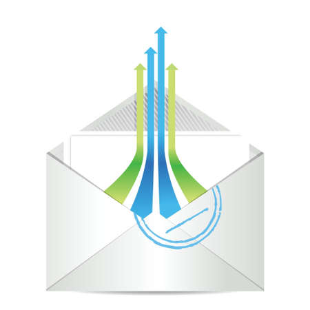 E-mail icon. Envelope mail with leader arrows illustration design