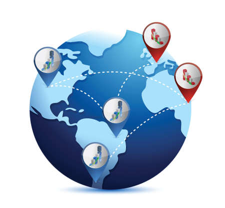 situation: globe with international economy situations. illustration over white