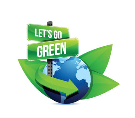 go green, earth globe help with signs and leaves. Illustration design Vector