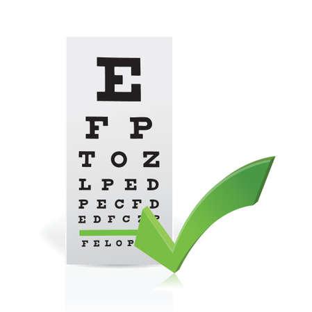 miopia: Eye Chart medica con un segno di spunta. Buona visione concetto di design illustrazione