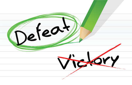 encircle: victory versus defeat selection illustration design on a notepad