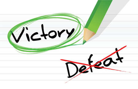defeat: victory versus defeat selection illustration design on a notepad