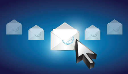email envelope correspondence selected on a blue binary background illustration design Vector