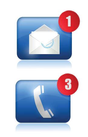 email us: Chiamaci e via email inbox design illustrazione su bianco