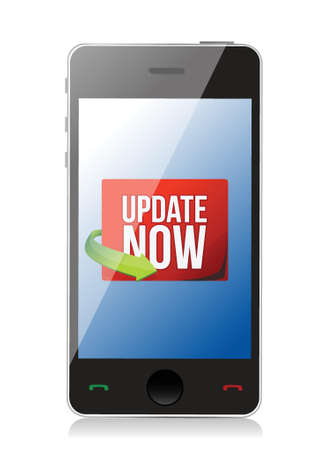 beta cells: Update now label on a smartphone screen illustration design over white