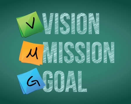 vision mission: vision, mission and goal illustration design over white Illustration