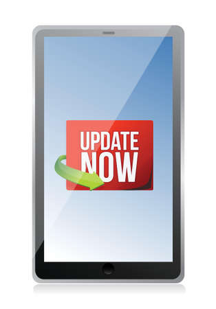 Update now label on a tablet screen illustration design over white Vector