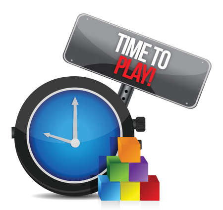 time to play clock illustration design over a white background