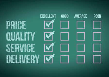 evaluate: evaluate customer survey form illustration design over a white background