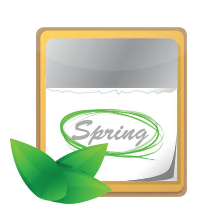 calendar page: calendar with spring page and green leaf illustration design over white
