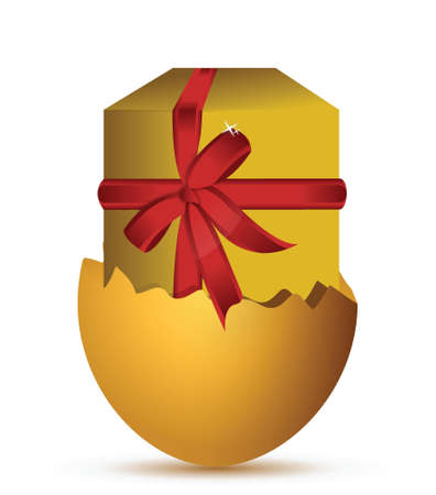 Easter egg gift illustration design over a white background Ilustração
