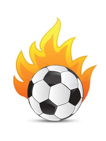 fire ball: soccer Ball in fire illustration design over a white background Illustration