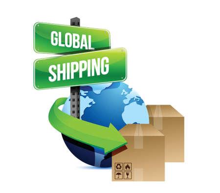 transportes: transporte mar�timo internacional concepto dise�o ilustraci�n sobre un fondo blanco