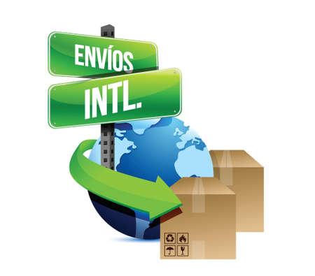 international shipping: international shipping concept in spanish illustration design over a white background Illustration