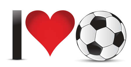 I love soccer, Heart with Soccer Ball Inside illustration design Vector