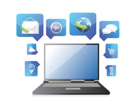 laptop application icon illustration design over white