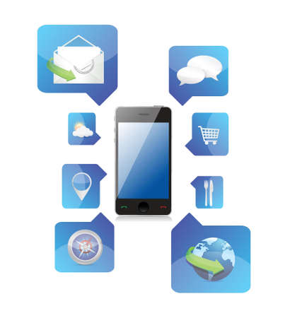 Smartphone application icons illustration design over a white background Vector