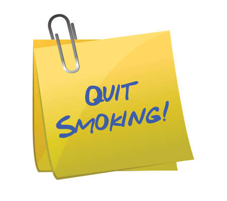 general warning: Quit smoking post it illustration design over a white background