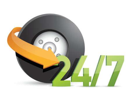 24x7: wheel mechanical service 247 Concept illustration design over white