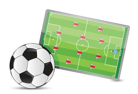 gainer: Soccer field tactic table, soccer balls illustration design over white