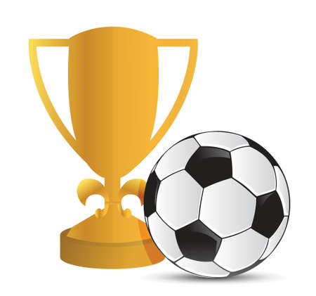 Gold Trophy Cup football soccer on a white background Stock Vector - 18324087