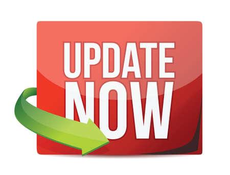 Update now sticker, red label illustration design Stock Vector - 18323997