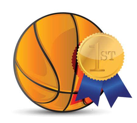 Basketball ball with award illustration design over white Illustration
