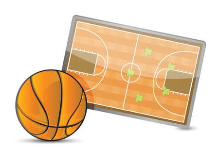 gainer: Basketball field tactic table, Basketball balls illustration design over white Illustration