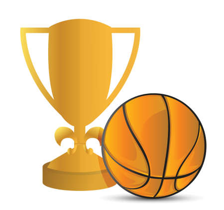 Gold Trophy Cup Basketball on a white background Stock Vector - 18324093