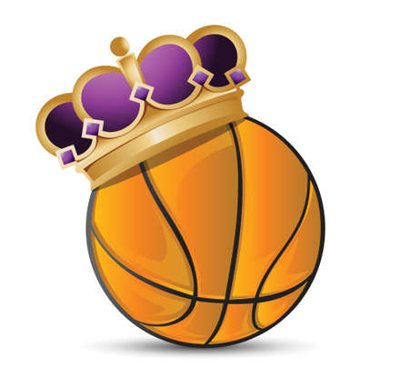 Basketball ball with a crown illustration design over a white background