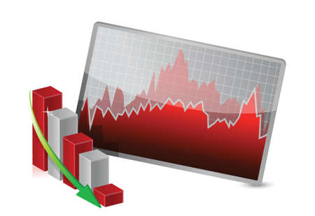 Business Graph with stocks showing losses illustration Ilustrace