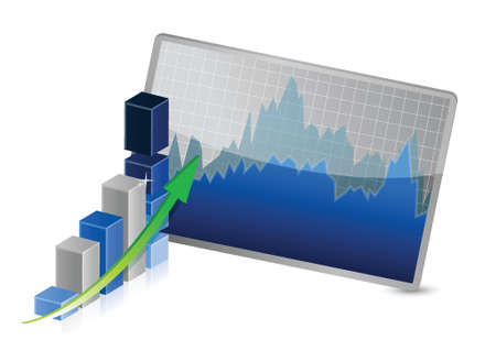 Business Graph with stocks showing profits and gains illustration