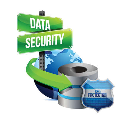 data security global communications concept illustration design over white Vector
