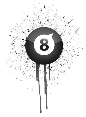 bola ocho: salpicaduras de tinta bola ocho, ilustración, diseño, encima, blanco