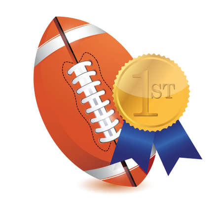 score under: Football ball with award illustration design over white Illustration