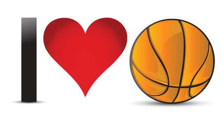 I love Basketball, Heart with Basketball Ball Inside illustration design