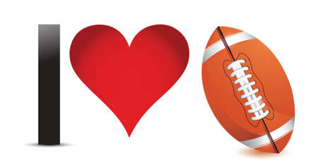 I love Football, Heart with Football Ball Inside illustration design
