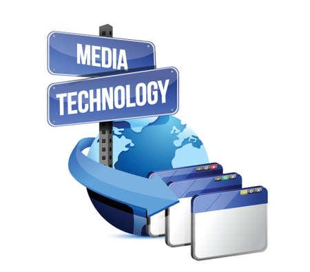Internet media technology concept illustration on white background Stock Vector - 18324133