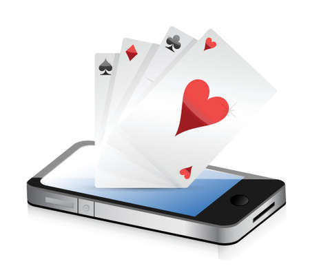 computer clubs: Smartphone Gambling - Poker Aces. Online gambling illustration design Illustration