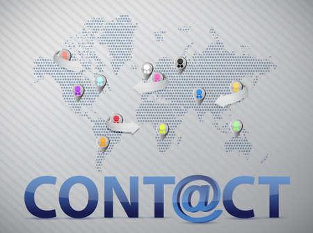 world social network contact us illustration design