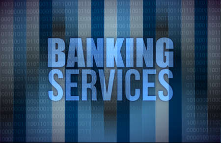 banking services on digital screen, business concept, illustration design Stock Photo
