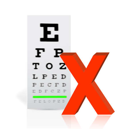 poor eyesight: Medical Eye Chart with a x mark. poor vision concept illustration design