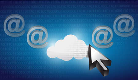 cloud internet selected on a blue binary background illustration design illustration