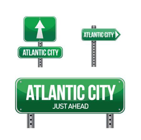 Atlantic city road sign illustration design over white